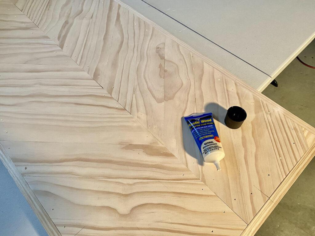 wood filler on herringbone coffee table
