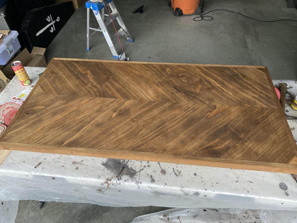 herringbone table stained