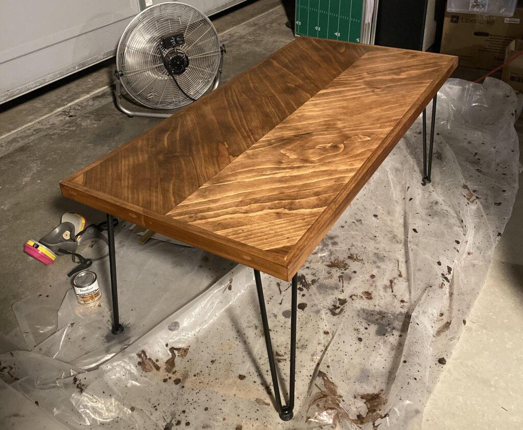 herringbone table with varnish