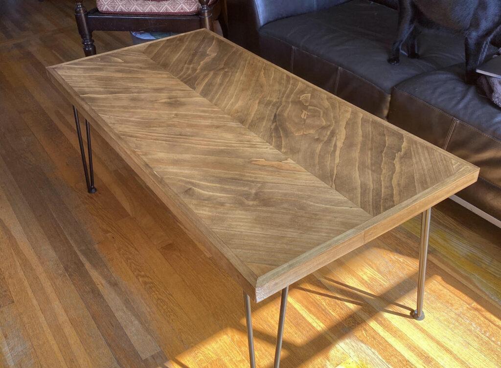 finished herringbone coffee table
