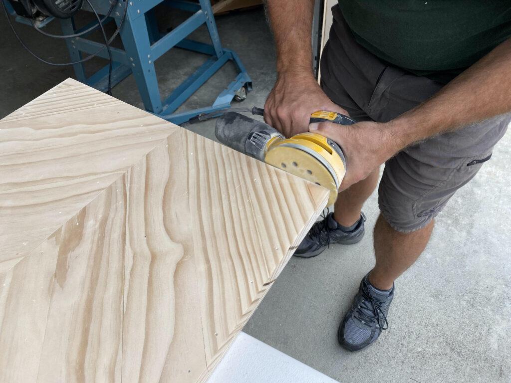 sanding herringbone coffee table