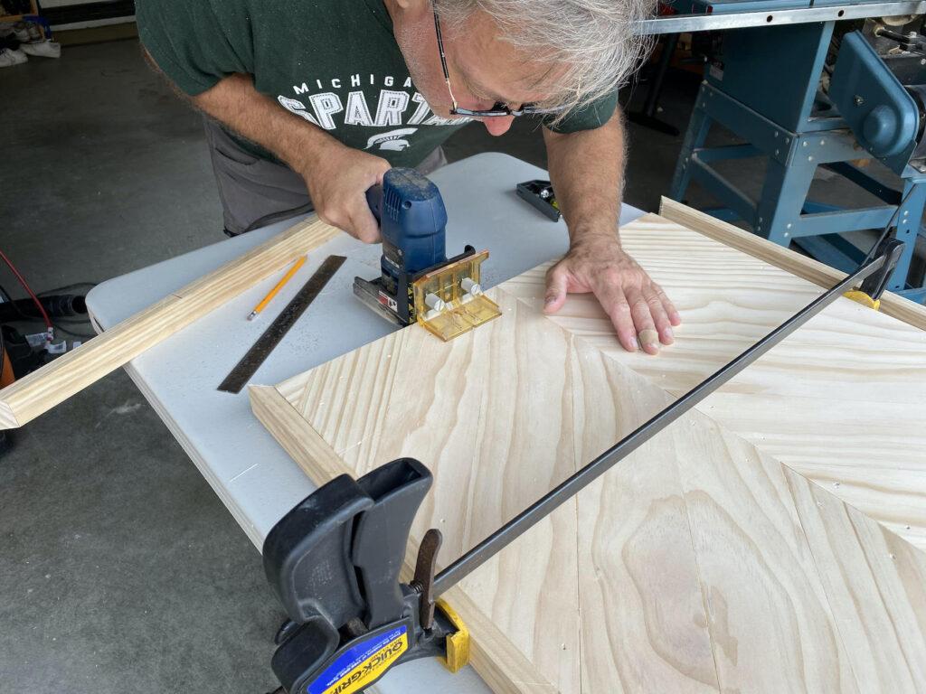 installing frame of herringbone coffee table