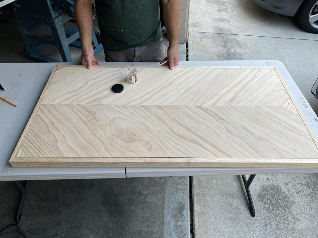 frame of herringbone coffee table