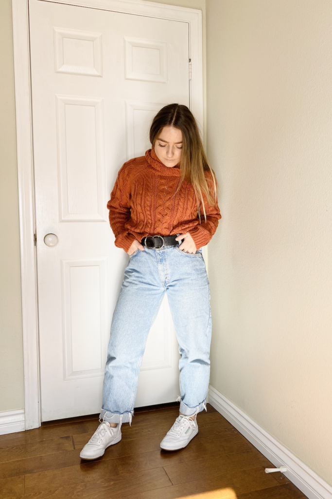 mom jeans with sweater