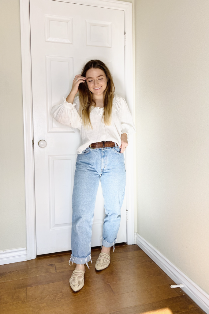 mom jeans with long sleeve top
